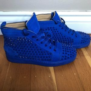 Christian Louboutin blue suede spiked shoes